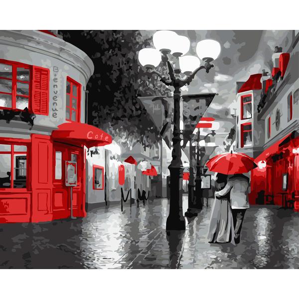 Картина по номерам Романтика - Прогулянка під дощем