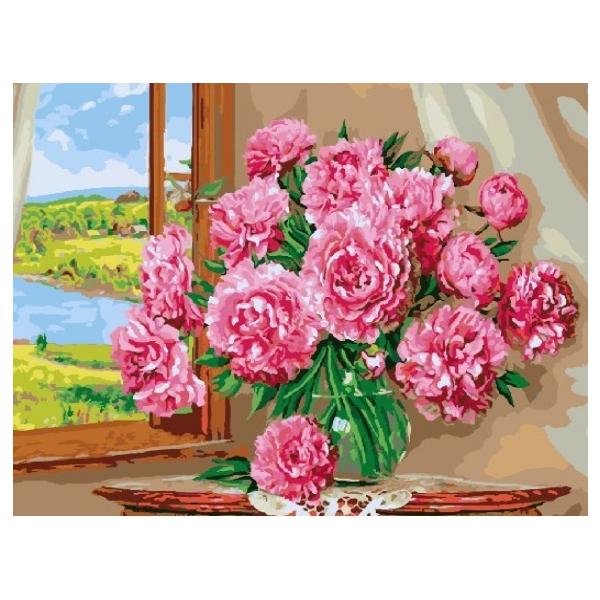 Картина по номерам Цветы - Яскраві піони