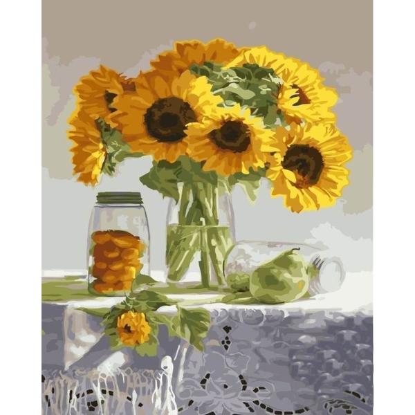 Картина по номерам Цветы - Букет подсолнухов