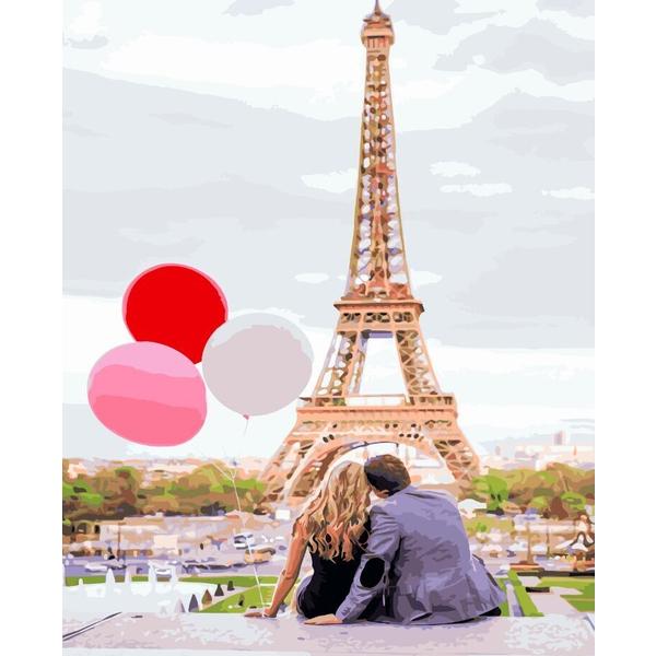 Картина по номерам ПРЕМИУМ картины - Паризьке кохання