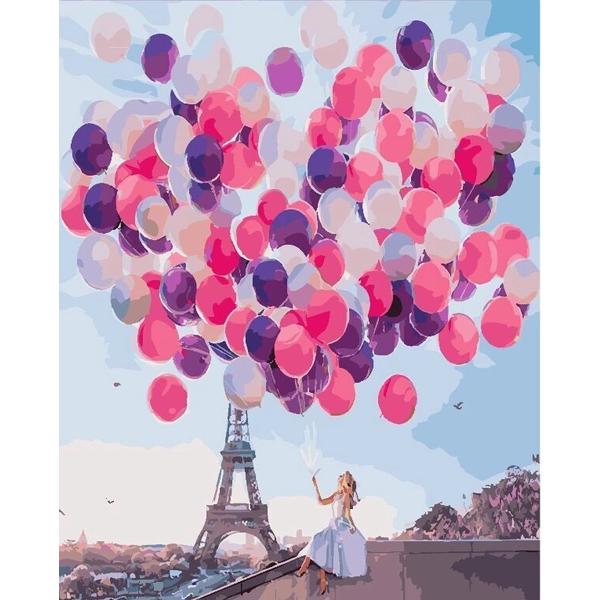 Картина по номерам Уникальные сюжеты - Париж в шарах