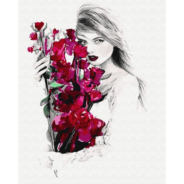 Картина по номерам Уникальные сюжеты - Девушка и орхидеи