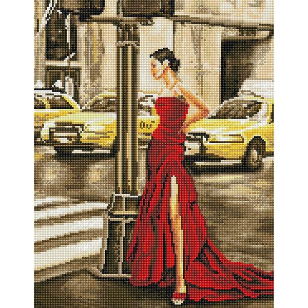 Алмазная мозаика 40х50 - Дівчина і жовте таксі