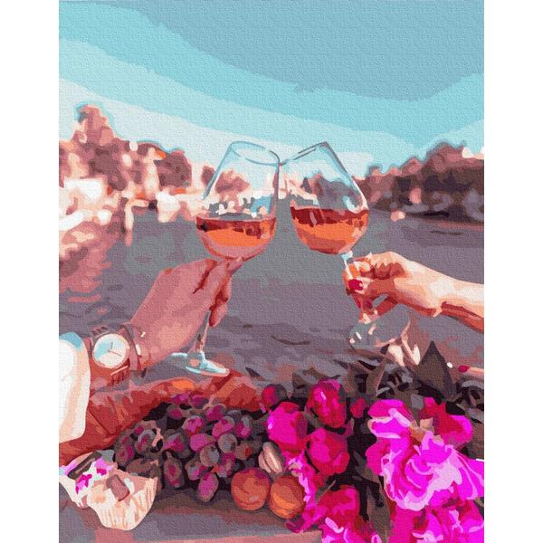 Картина по номерам Цветы - Бокали закоханих