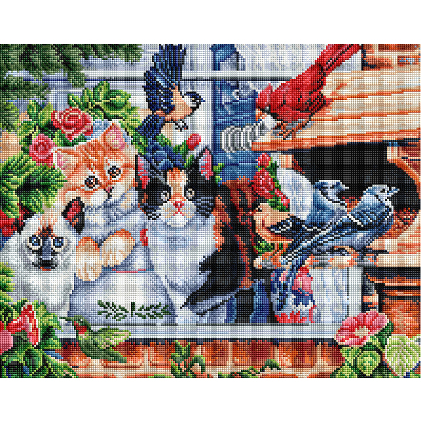 Алмазная мозаика 40х50 - Кошенята в саду
