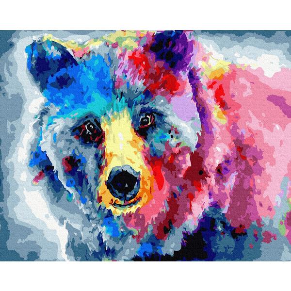 Картина по номерам Поп-арт - Барвистий ведмідь