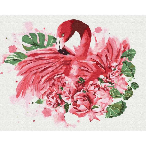 Картина по номерам Животные, птицы и рыбы - Фламінго в квітах