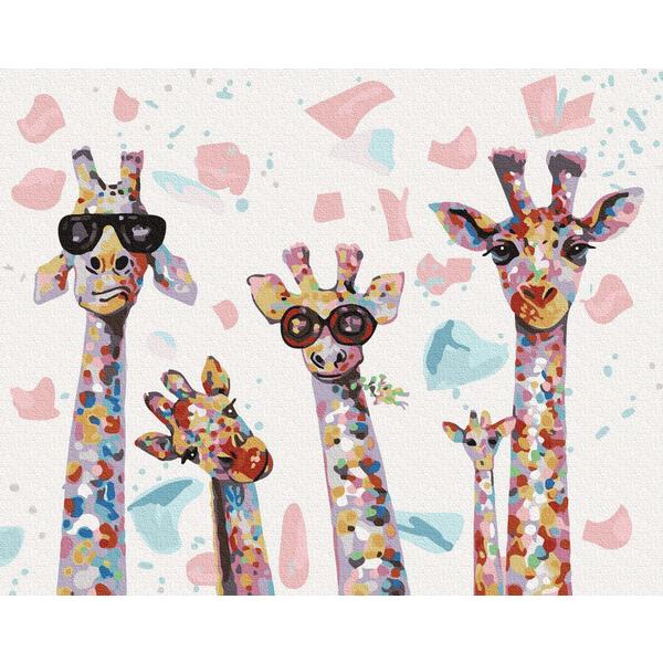 Картина по номерам Животные, птицы и рыбы - Стильні жирафи