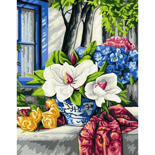 Картина по номерам Натюрморты - Квітучий стіл