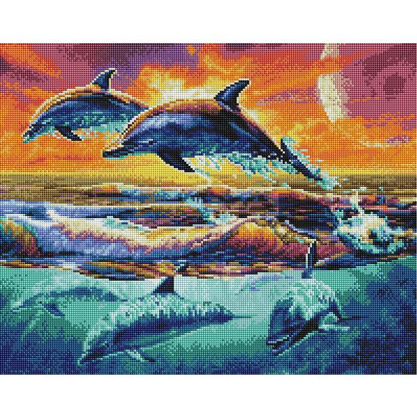 Алмазная мозаика 40х50 - Зграя дельфінів