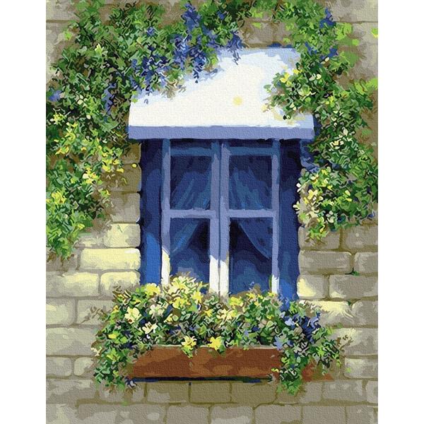 Картина по номерам Пейзажи - Вікно в квітах
