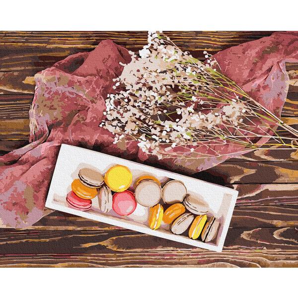Картина по номерам Цветы - Макарунчики