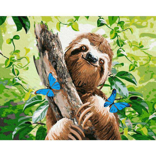 Картина по номерам Животные, птицы и рыбы - Щасливий лінивець