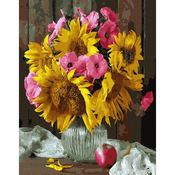 Картина по номерам Цветы - Букет подсолнухов и петуний