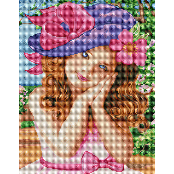 Алмазная мозаика 40х50 - Девочка в шляпке