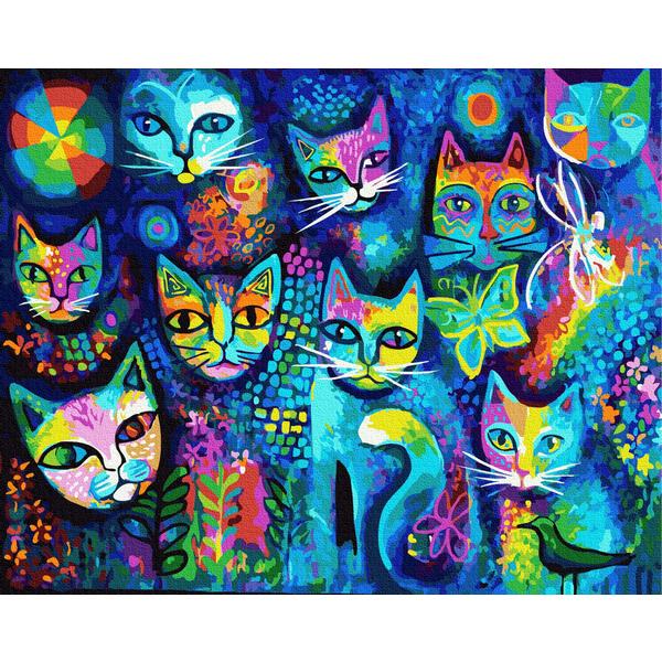 Картина по номерам Поп-арт - Котяча мозаїка