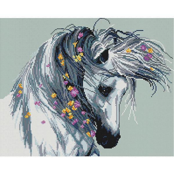 Алмазная мозаика 40х50 - Белая лошадь
