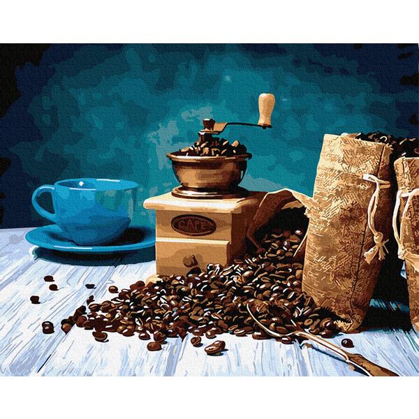Картина по номерам Цветы - Магия кофе