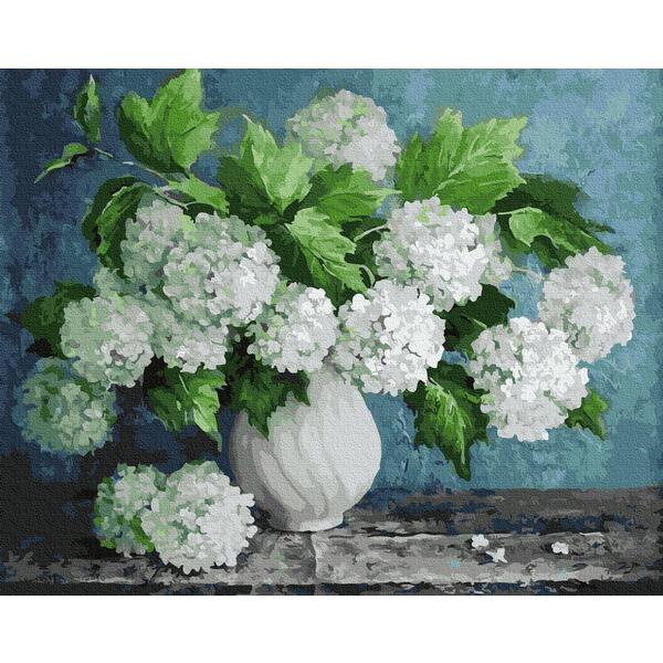 Картина по номерам Цветы - Букет білих гортензій