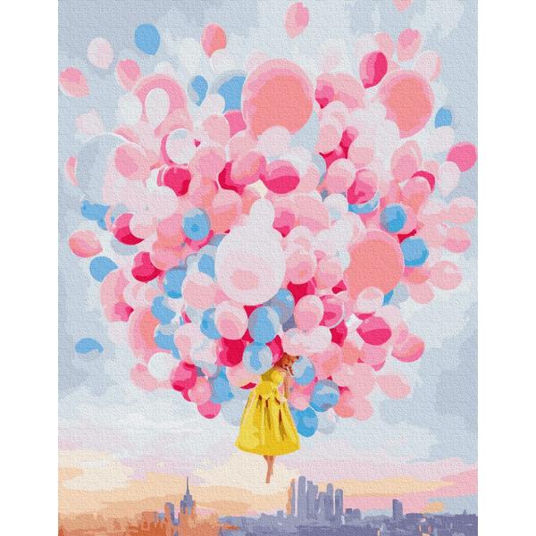 Картина по номерам Уникальные сюжеты - Полет на шариках