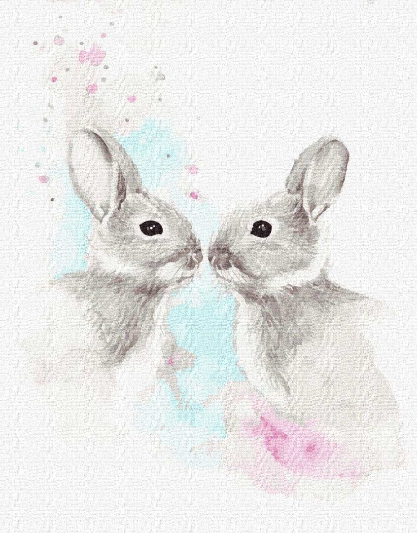 Картина по номерам Животные, птицы и рыбы - Влюбленные зайчики