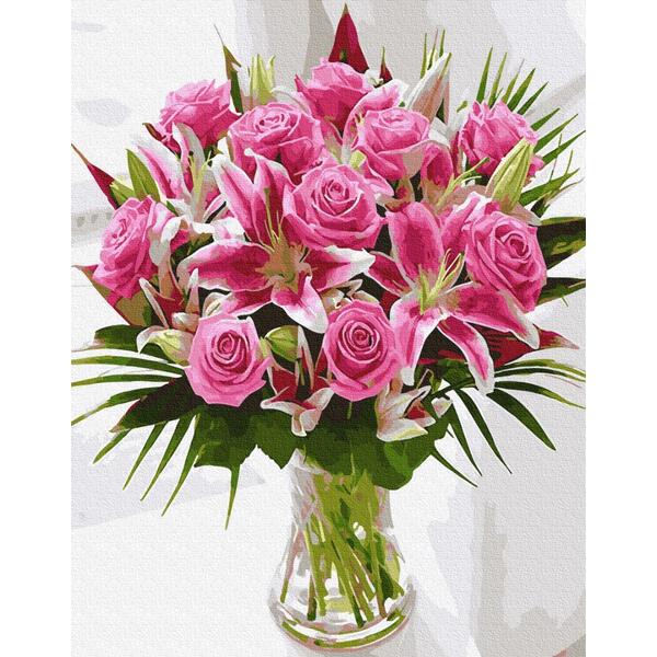 Картина по номерам Цветы - Букет розовых лилий