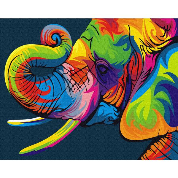 Картина по номерам Поп-арт - Радужный слон
