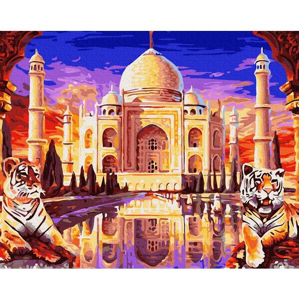 Картина по номерам Города - Тадж-Махал з охраной