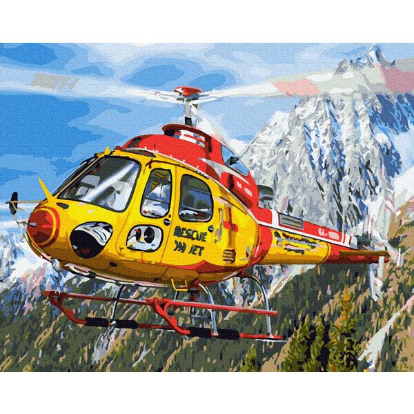 Картина по номерам Корабли, авто и самолеты - Вертоліт в Альпах
