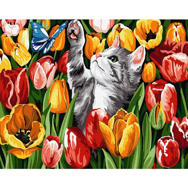 Картина по номерам Животные, птицы и рыбы - Котенок в тюльпанах
