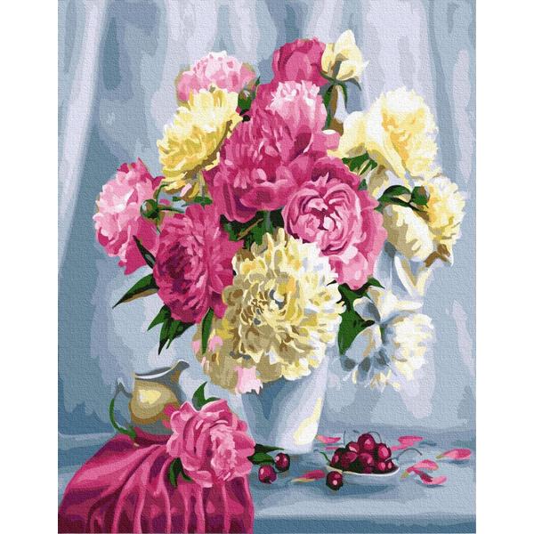 Картина по номерам Цветы - Домашні піони