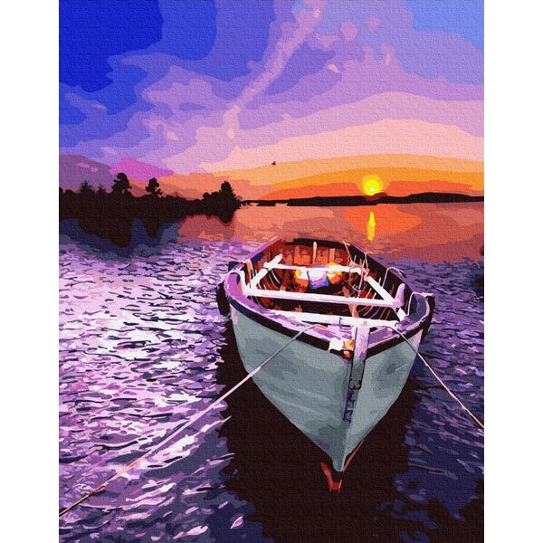 Картина по номерам Природа - Човен на заході