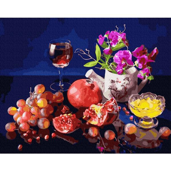 Картина по номерам Натюрморты - Фрукти і вино