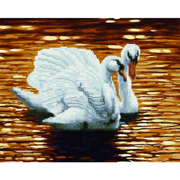 Алмазные картины-раскраски - Лебеди на пруду