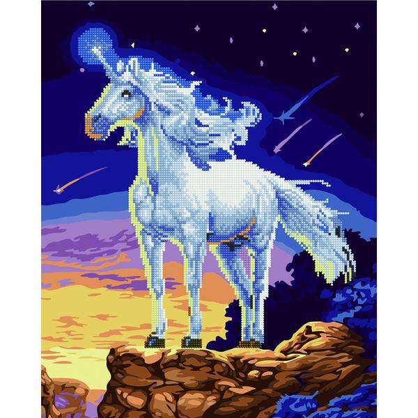Алмазные картины-раскраски - Єдиноріг на скелі