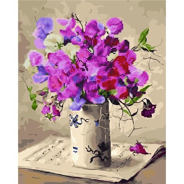 Алмазные картины-раскраски - Букет в белой вазе