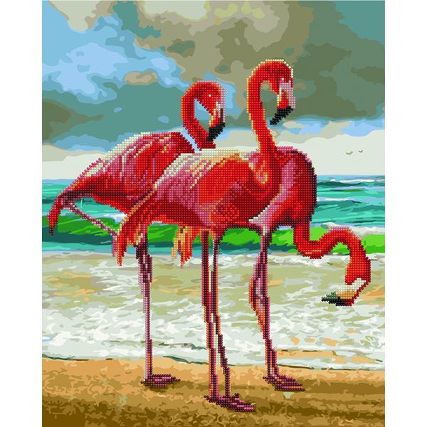 Алмазные картины-раскраски - Фламинго на берегу моря