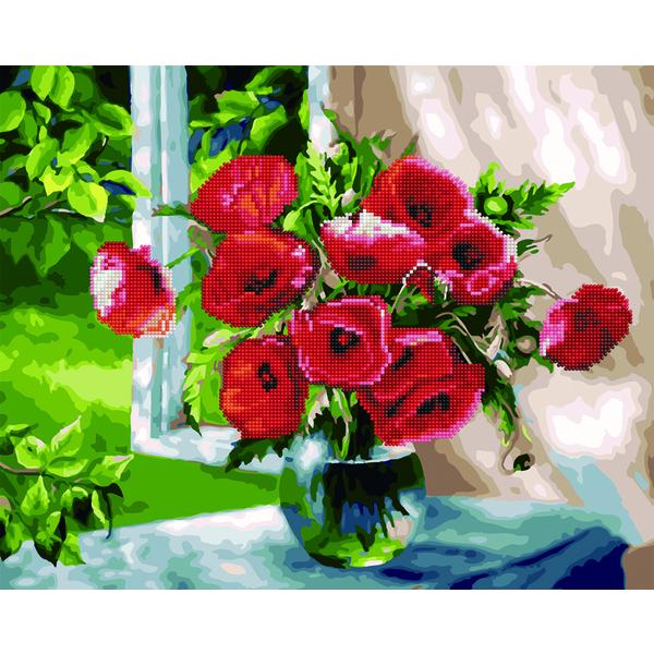 Алмазные картины-раскраски - Букет маків у вікні