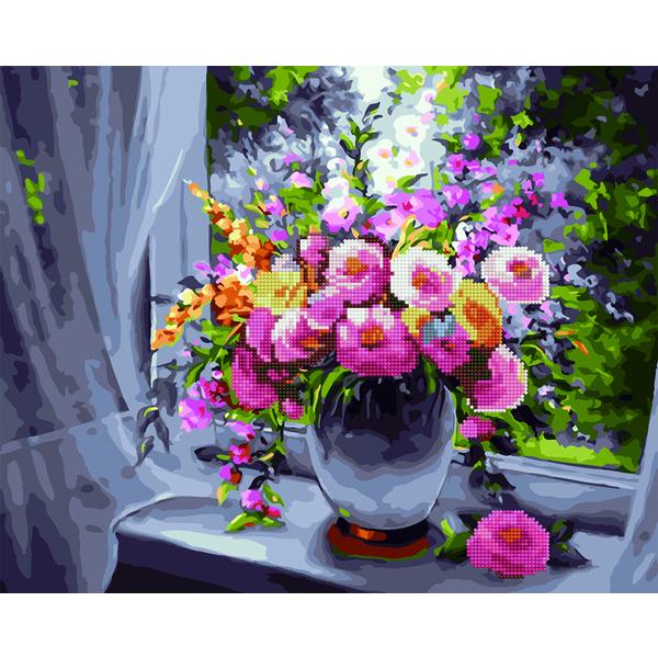 Алмазные картины-раскраски - Ароматные цветы на окне