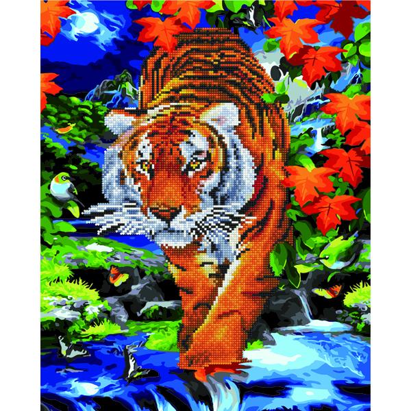 Алмазные картины-раскраски - Тигр на полюванні