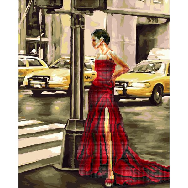 Алмазные картины-раскраски - Дівчина і жовте таксі