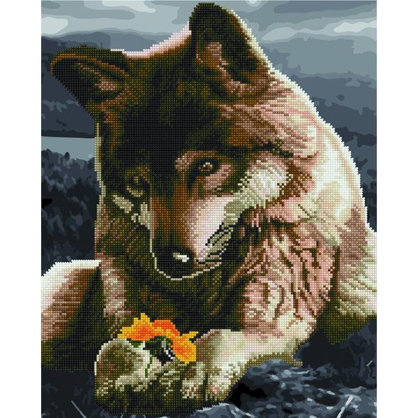 Алмазные картины-раскраски - Вовк з квіткою