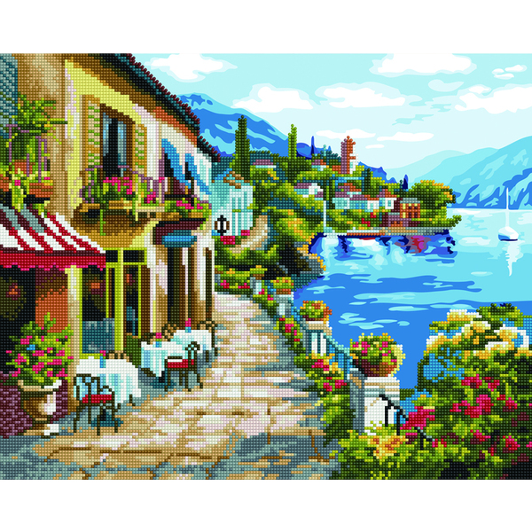 Алмазные картины-раскраски - Набережна біля гір