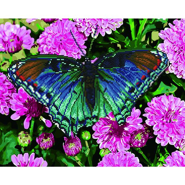 Алмазные картины-раскраски - Бабочка на георинах