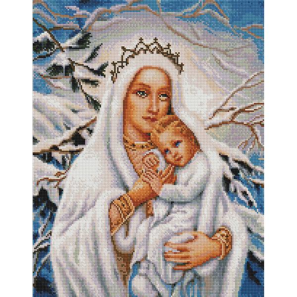 Алмазная мозаика 40х50 - Марія та Ісус зимою