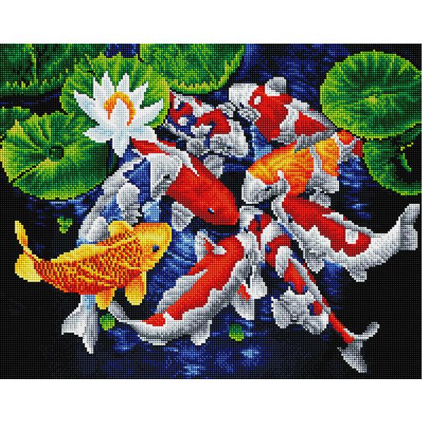 Алмазная мозаика 40х50 - Різнокольорові рибки