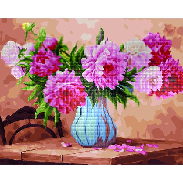 Алмазные картины-раскраски - Рожеві піони на столі