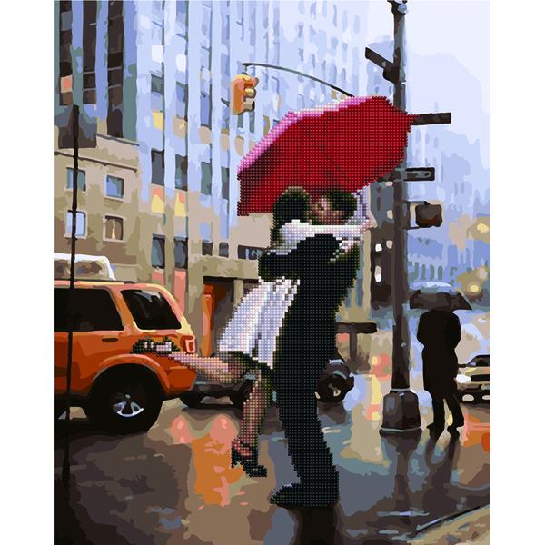 Алмазные картины-раскраски - Поцілунок під дощем