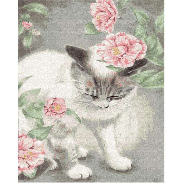 Картина по номерам Животные, птицы и рыбы - Кошка в цветах