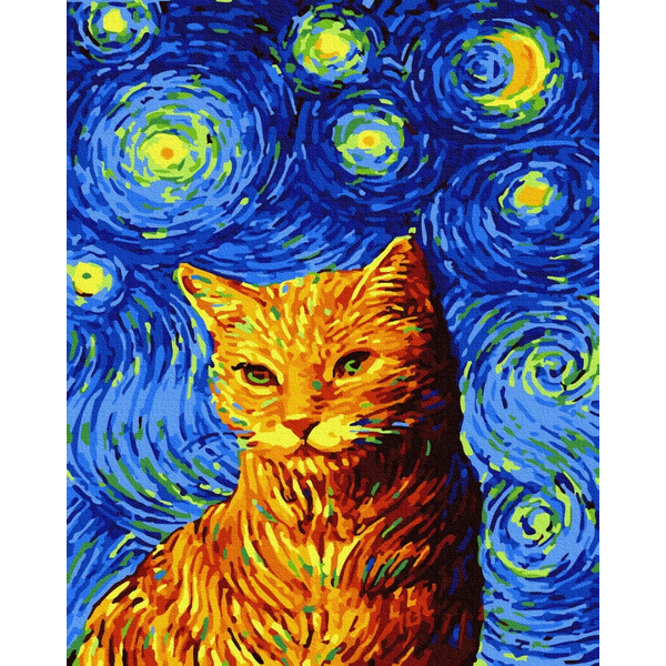 Картина по номерам Животные, птицы и рыбы - Кот в звездную ночь